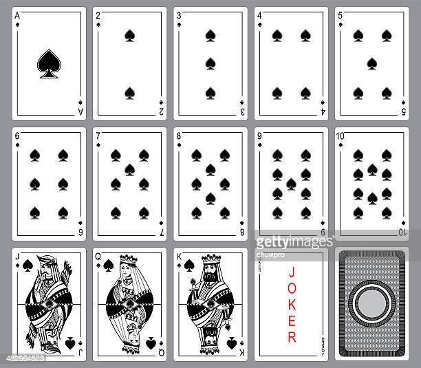 set playing cards of spades. - ace stock illustrations, clip art, cartoons, & icons