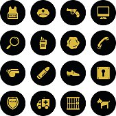 Set Police Icons Gold Series