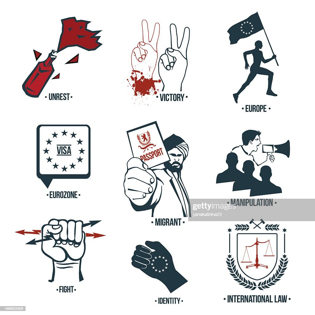 Set policies icons, logos.