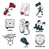 Set policies icons, logos.
