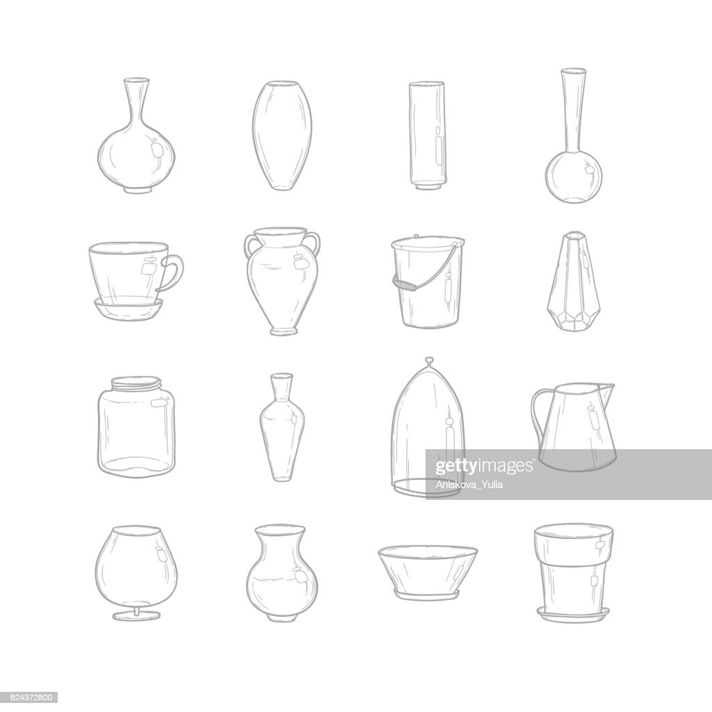 Set pots. Hand drawing. Style sketch. Vector illustration.