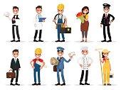 Set professions: waiter, doctor,  electrician, florist, pilot,