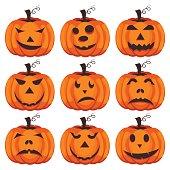 Set pumpkins for Halloween vector.