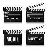 Set Realistic clapper cinema and movie on white background.