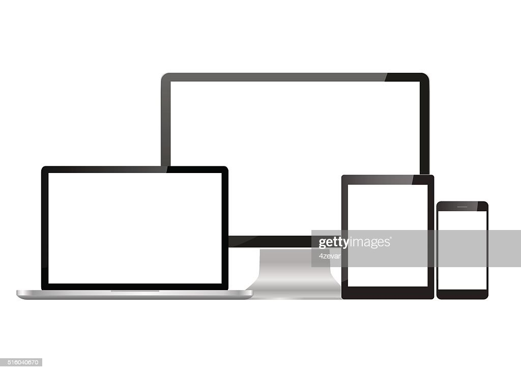 Set realistic Monitors laptop tablet