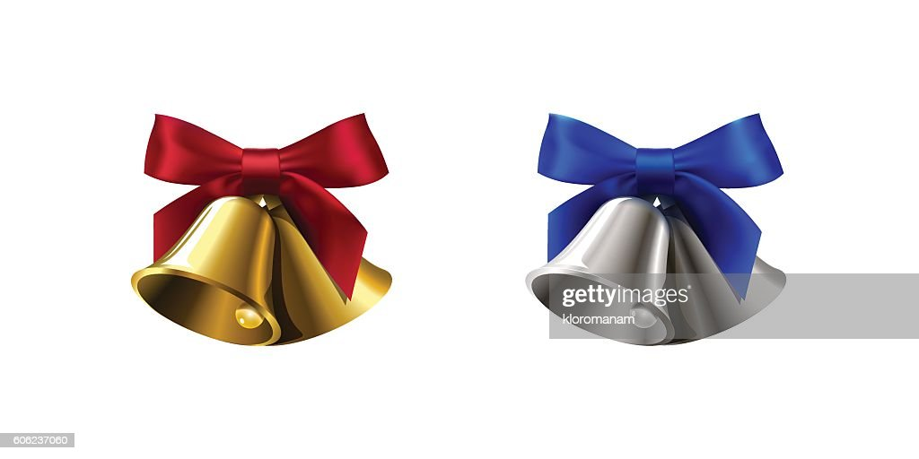 set realistic silver golden two bell with red blue bow