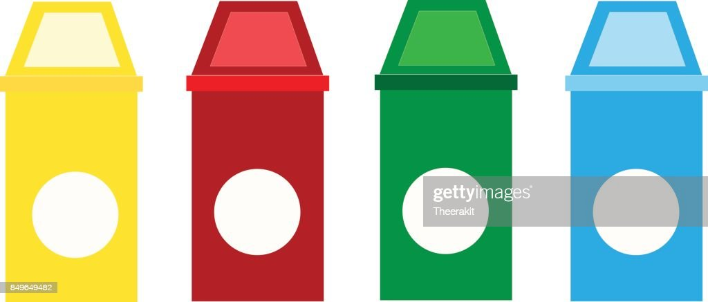 set recycle bin on white background. recycle garbage icon. waste type icon set vector.