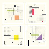 Set retro abstract geometric backgrounds. The poster with the flat figures