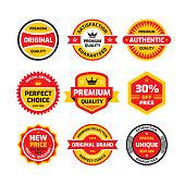 Set retro business badge vector illustration set in flat style. Vintage premium badge collection. Authentic vintage design. Satisfaction guaranteed. Sticker, label and emblem graphic design elements.