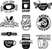 Set retro vintage logos for coffee shop, tea bar.