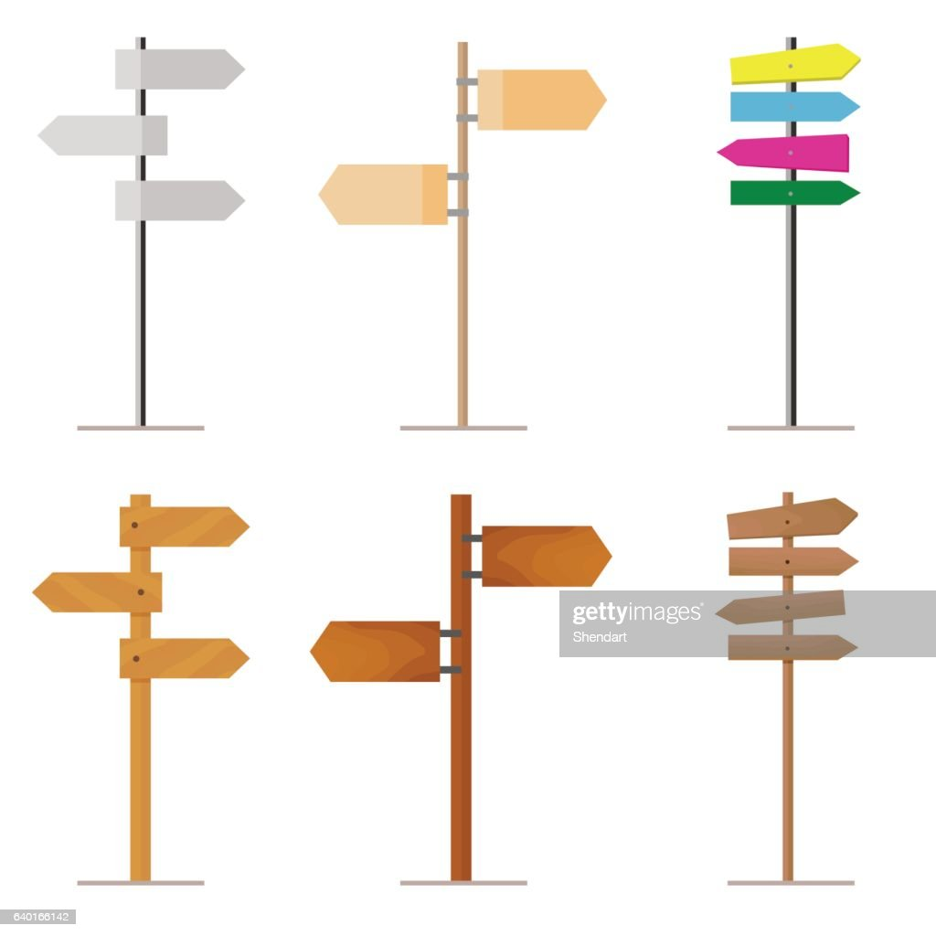 Set road signs made of wood or metal for your