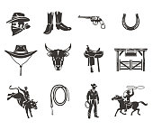 Set rodeo icons