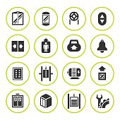 Set round icons of elevator and lift
