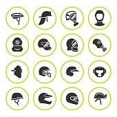 Set round icons of helmets and masks