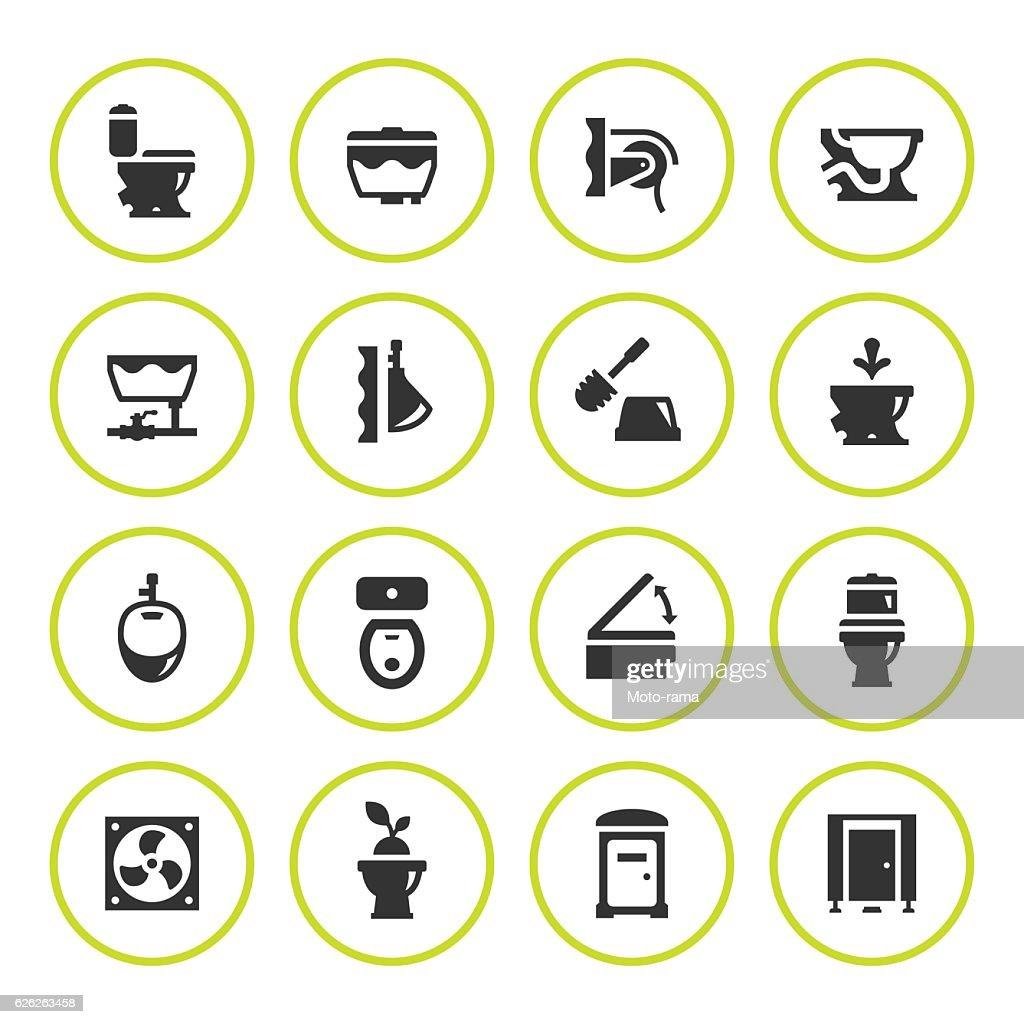 Set round icons of toilet