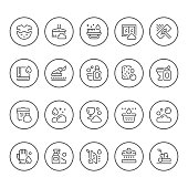 Set round line icons of cleaning