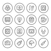 Set round line icons of electricity