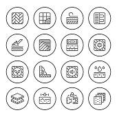 Set round line icons of floor