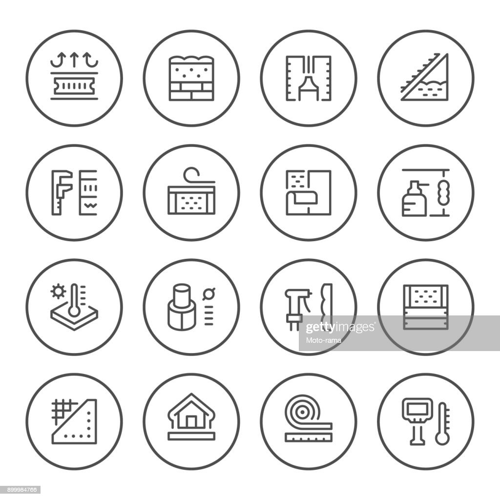 Set round line icons of insulation