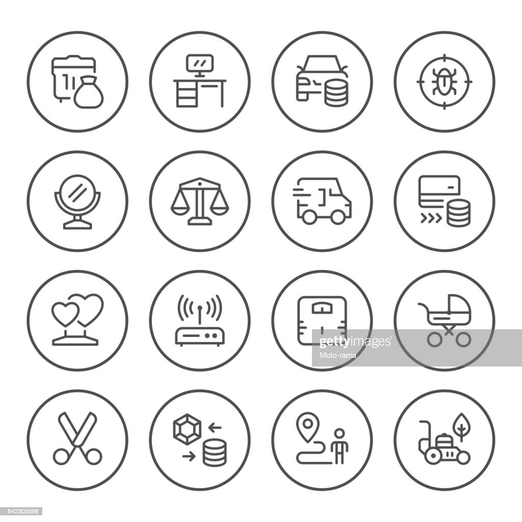 Set round line icons of services