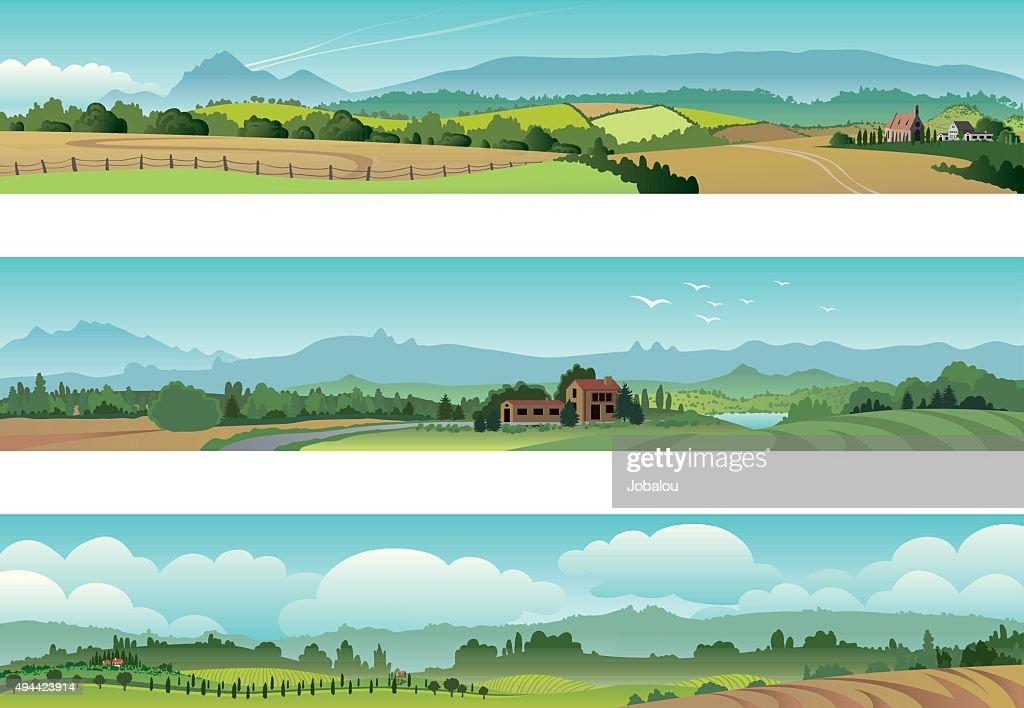 Set Rural Scene Landscape : Stock Illustration