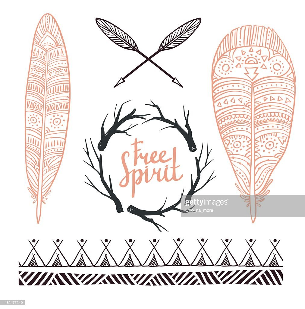 Set rustic logo elements - arrows, branches and feathers.