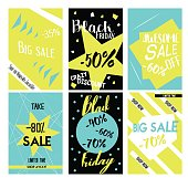 Set sale poster with percent discount. Geometric design.