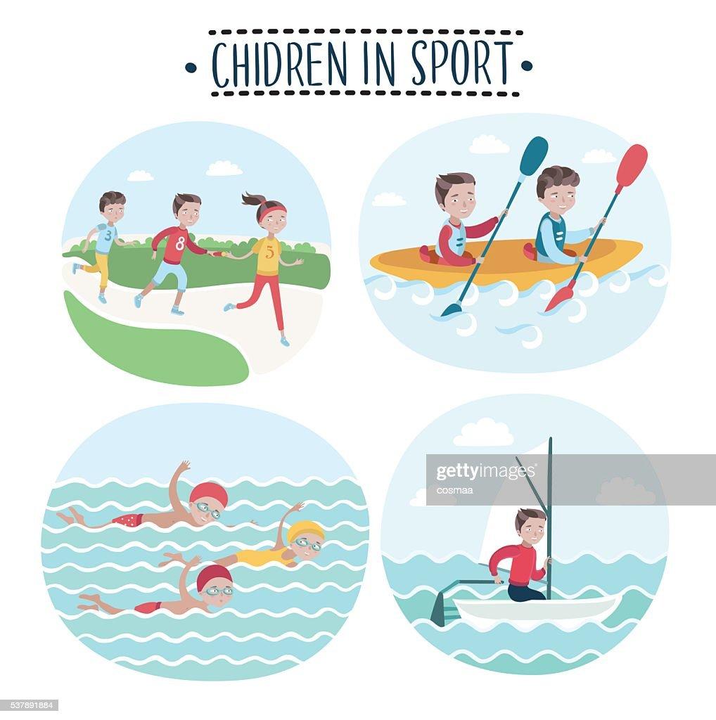 Set scene of children play sports