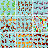 Set seamless pattern with funny farm animals on  blue background.