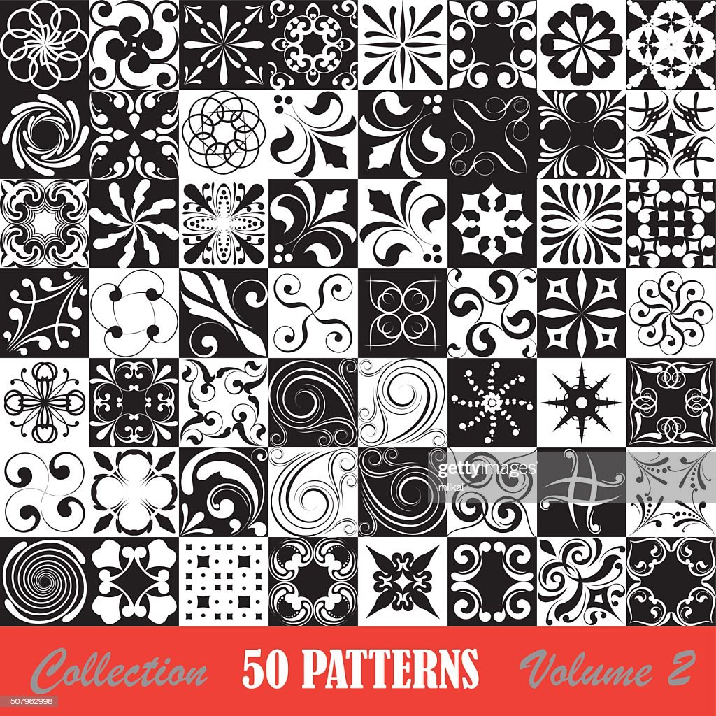 Set seamless patterns black and withe