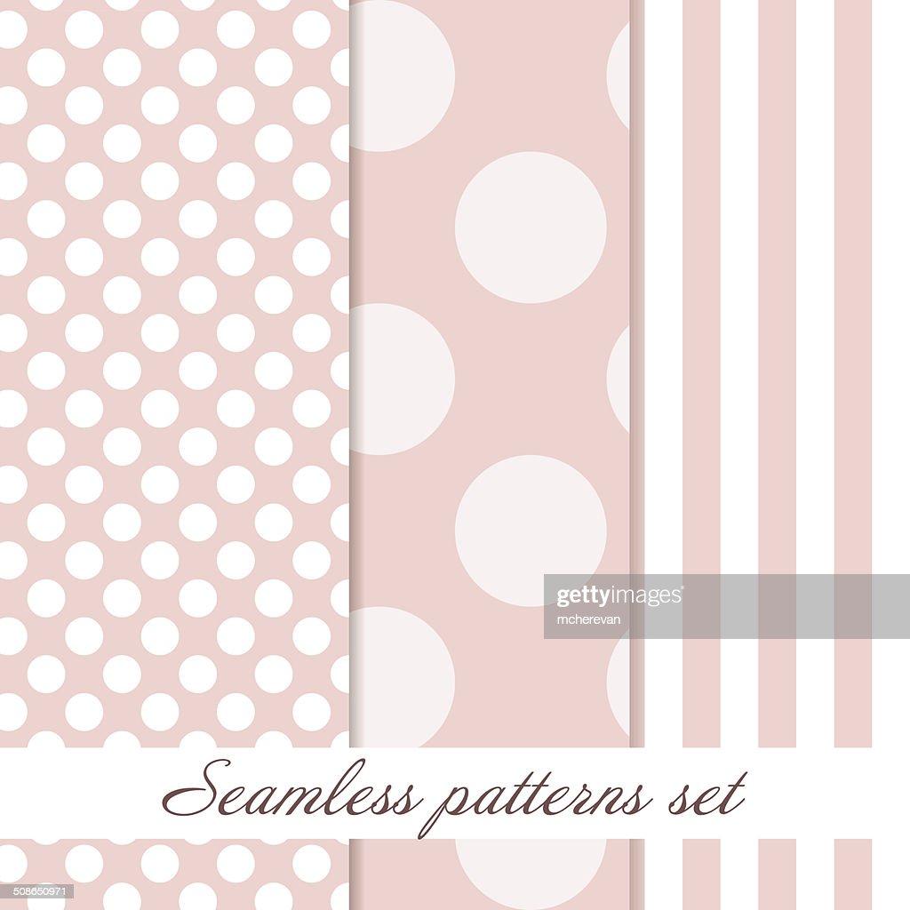 Set Seamless polka dot  vintage pattern : Vector Art