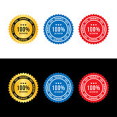 Set sign 100 percent satisfaction guarantee. Flat vector illustration EPS 10