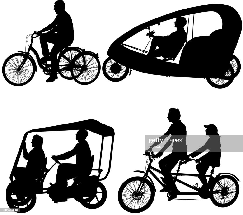 Set silhouette of two athletes on tandem bicycle on white background