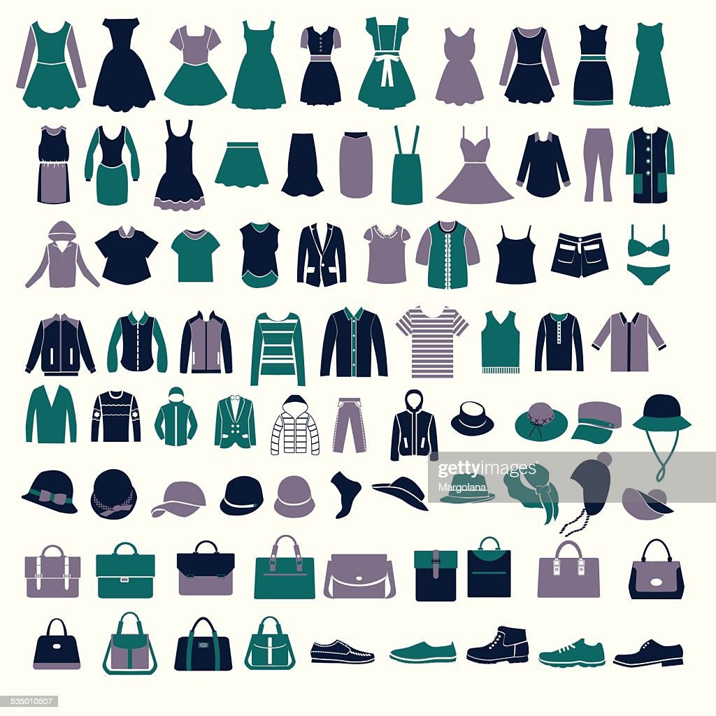 set silhouettes of fashion Collection Men's and Women Clothes