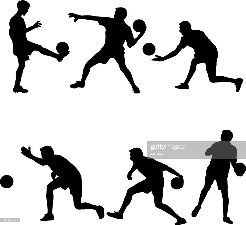 Set silhouettes of soccer players with the ball.