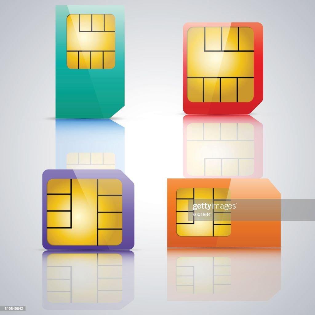 Set SIM card, vector illustration.