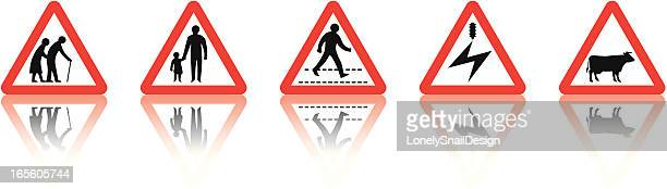 road signs set six - senior adult stock illustrations, clip art, cartoons, & icons