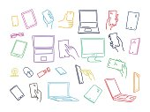 Set sketch gadgets, smartphone in hands. Monitors Electronics tablets. Illustration line, hand drawn