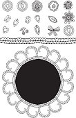 Set sketch lace, diamonds, flowers, leaves, greeting card. Black outline.