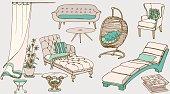 set sketch of furniture for the rest blue beige