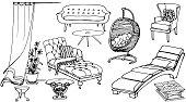 set sketch of furniture for the rest