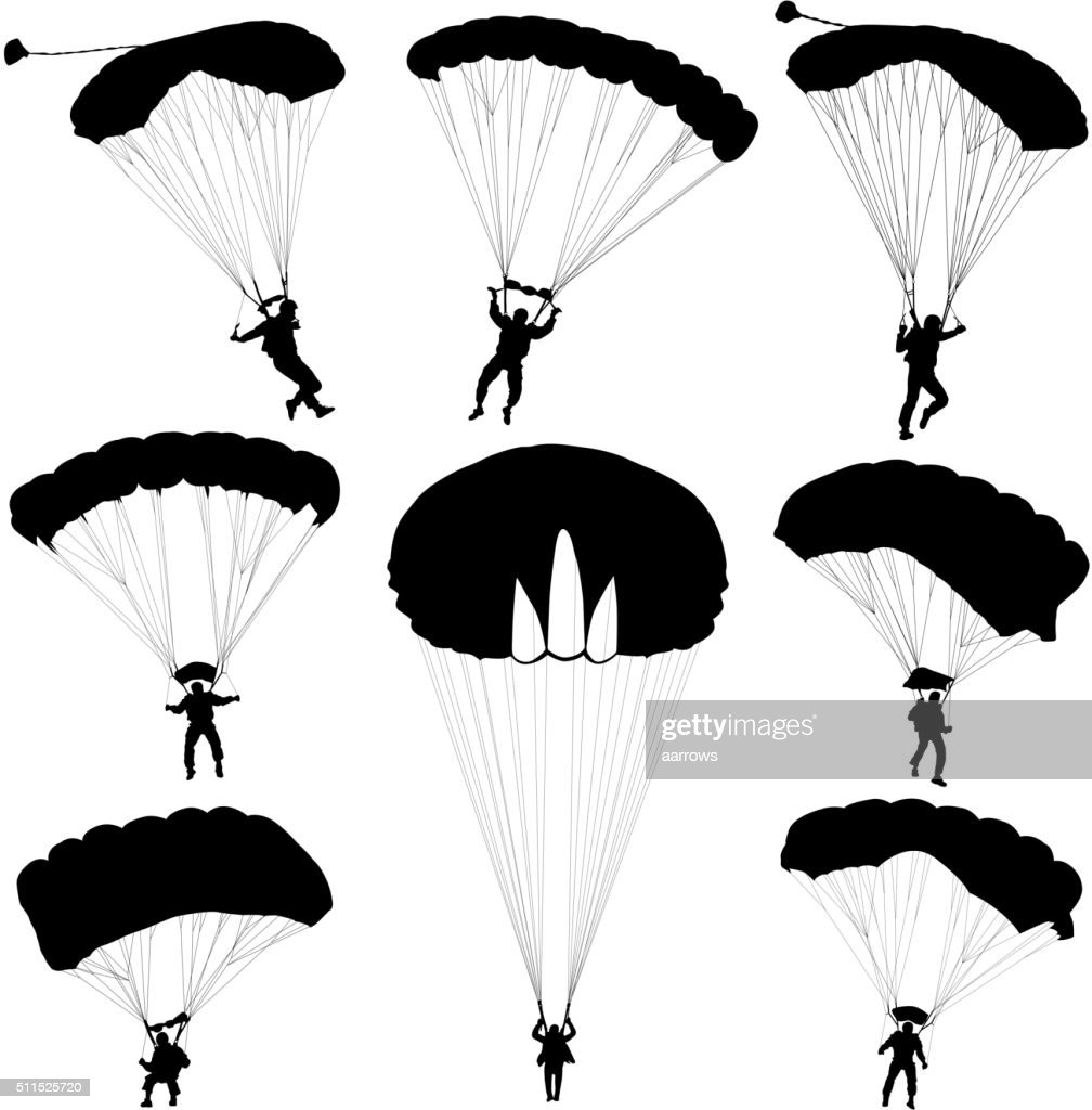Set skydiver, silhouettes parachuting vector illustration