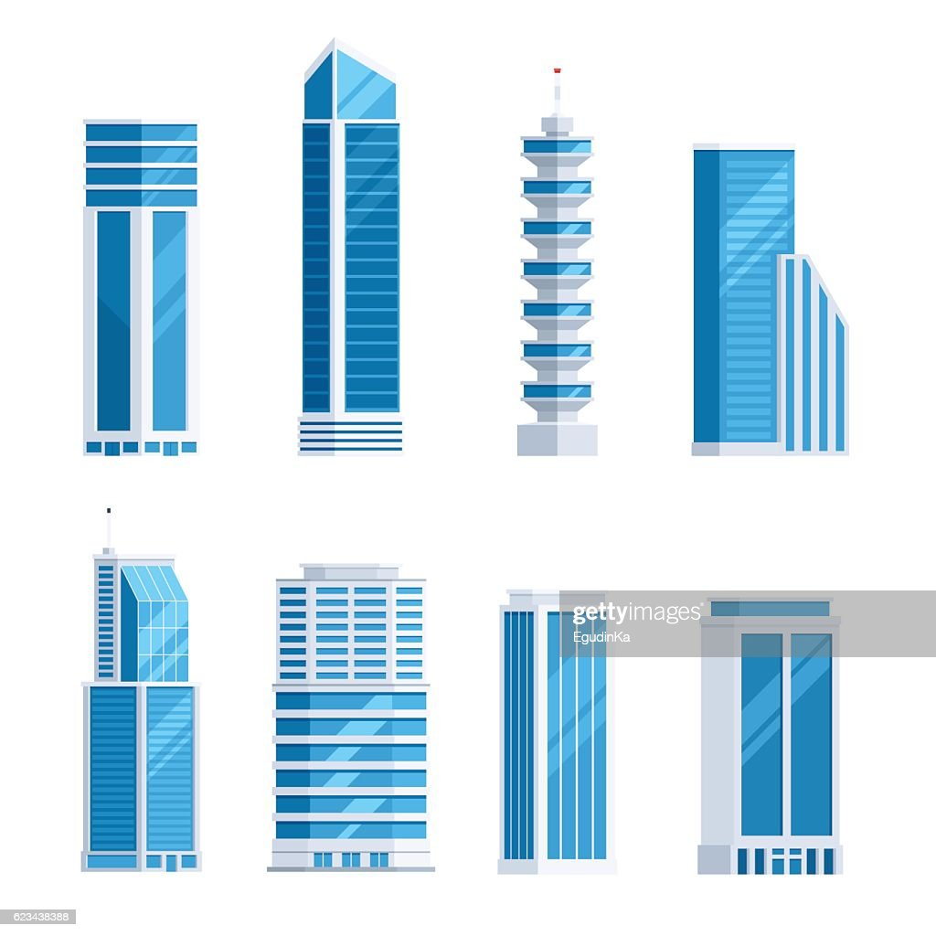 Set skyscrapers buildings