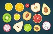 Set slice fruits. Vector color flat illustration