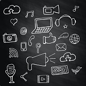 Set social network on chalk board signs and symbols