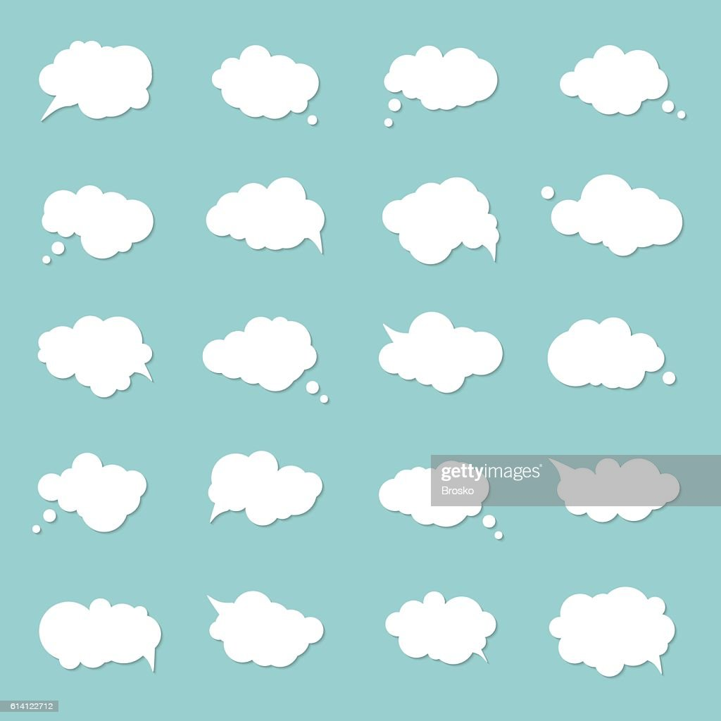 Set speech bubbles, pop art style. Think cloud, comic book