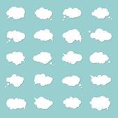 Set speech bubbles, pop art style. Think cloud, comic book