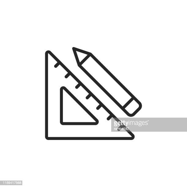 set square and pencil, graphic design line icon. editable stroke. pixel perfect. for mobile and web. - centimetre stock illustrations