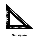 Set square icon vector isolated on white background, logo concept of Set square sign on transparent background, black filled symbol