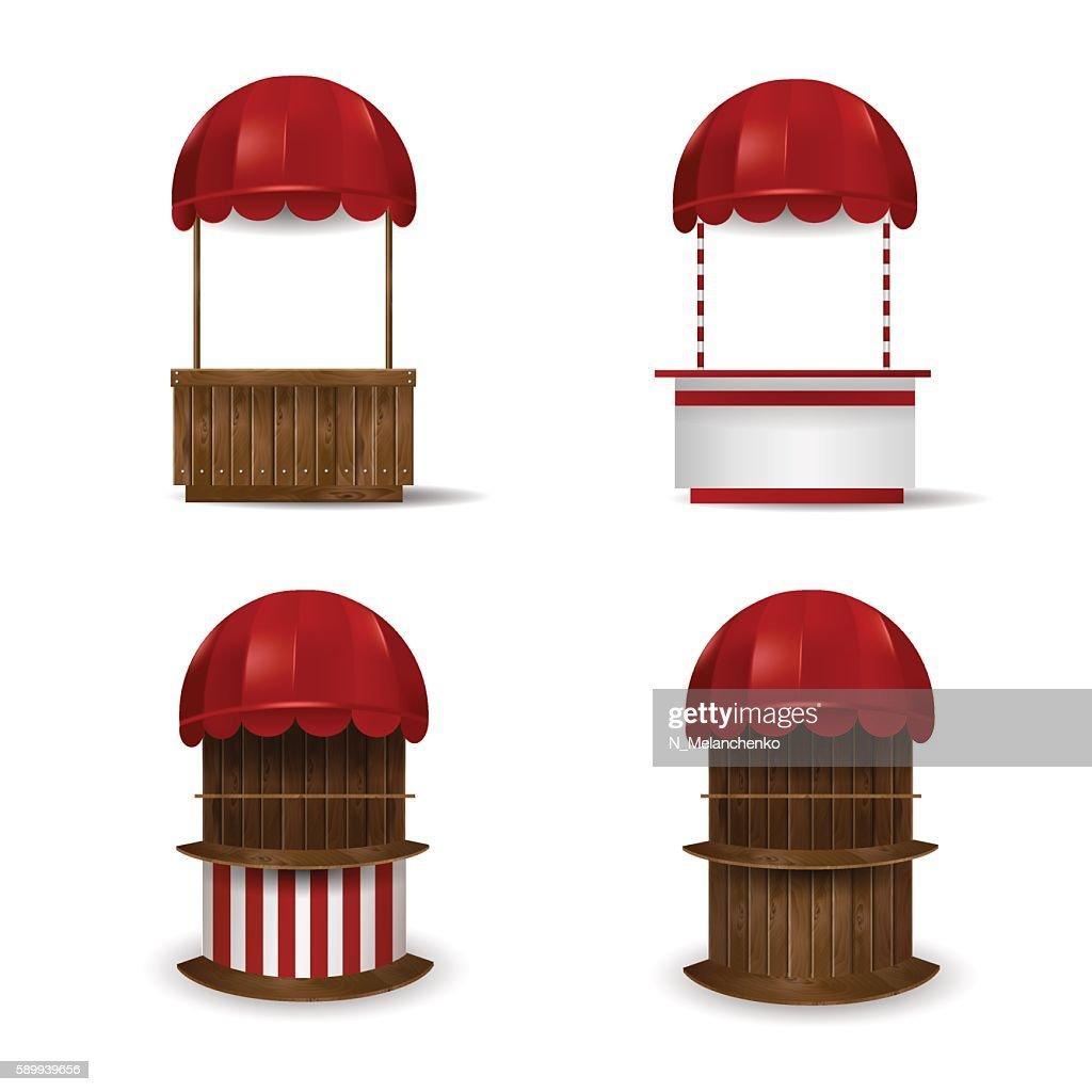 Set stalls under red awnings.